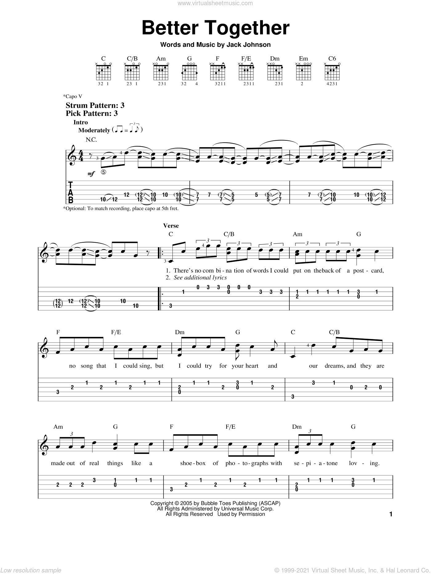 Better Together sheet music for guitar solo (easy tablature) by Jack Johnson. Score Image Preview.