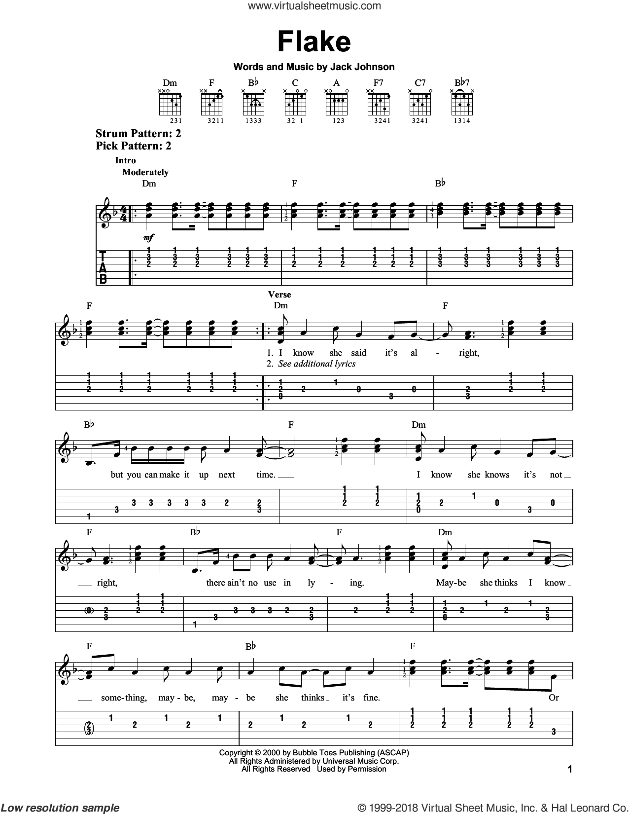 Flake sheet music for guitar solo (easy tablature) by Jack Johnson, easy guitar (easy tablature)