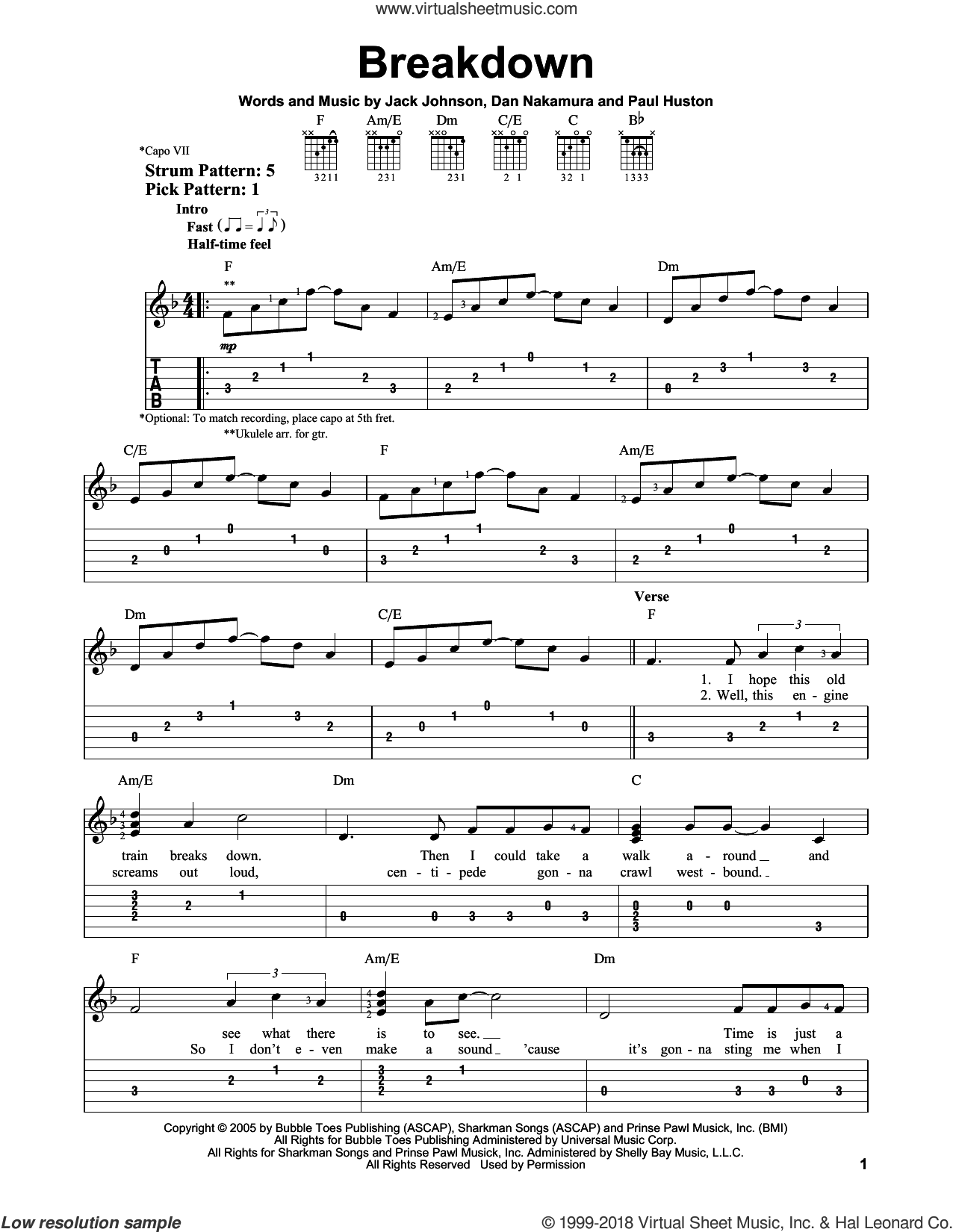 Breakdown sheet music for guitar solo (easy tablature) by Jack Johnson, easy guitar (easy tablature). Score Image Preview.