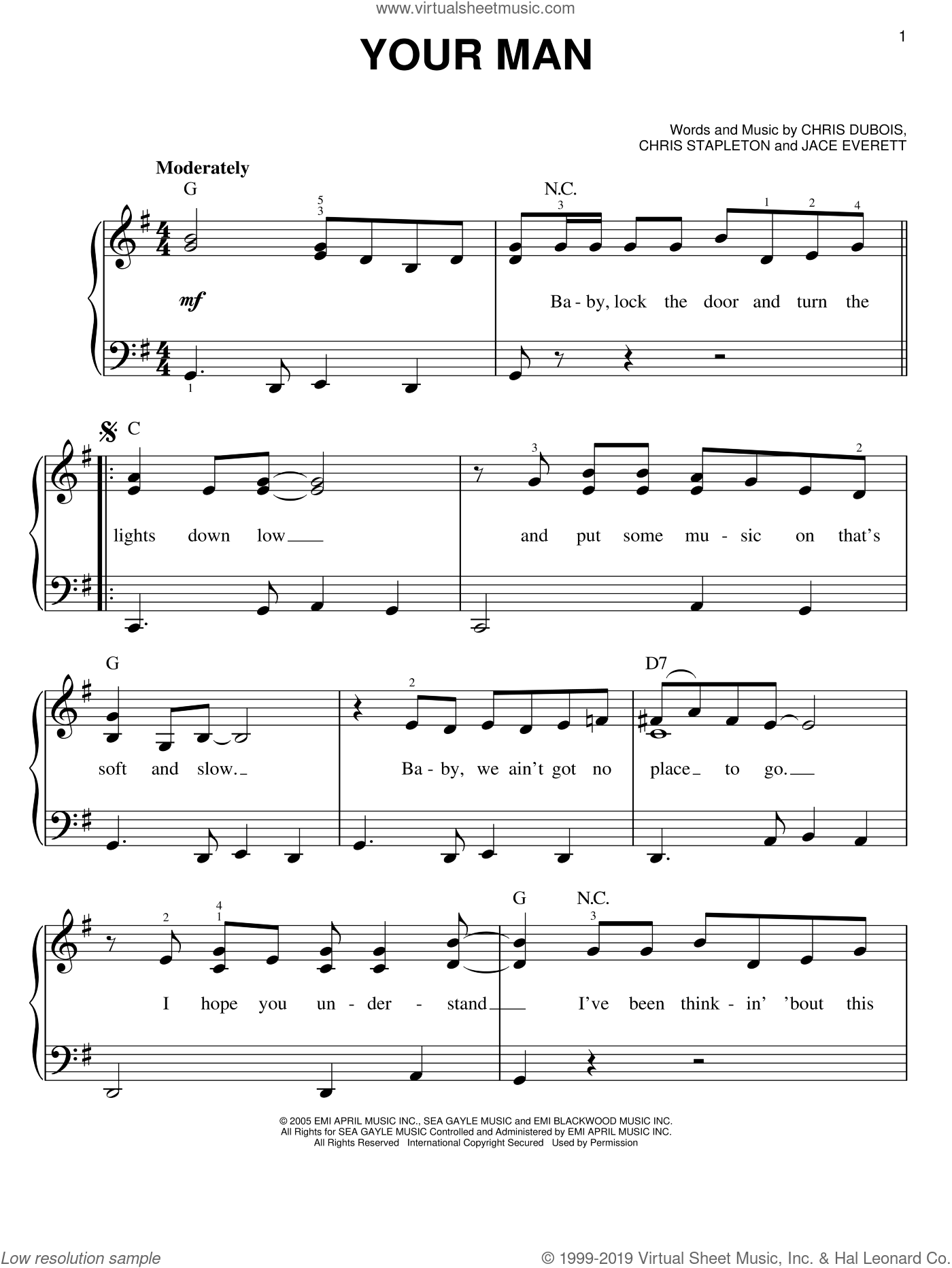 Your Man sheet music for piano solo by Jace Everett, Josh Turner, Chris DuBois and Chris Stapleton. Score Image Preview.