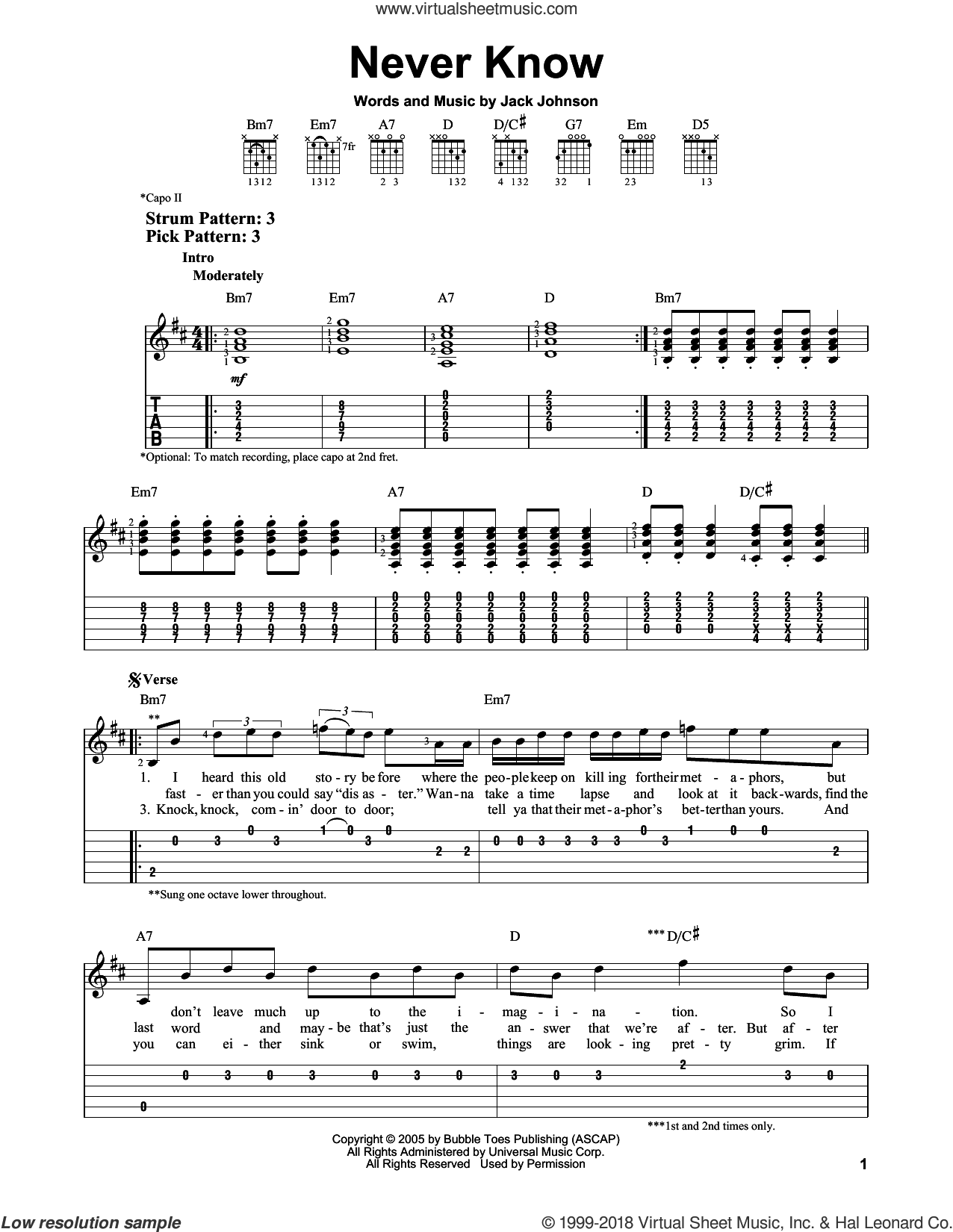 Never Know sheet music for guitar solo (easy tablature) by Jack Johnson