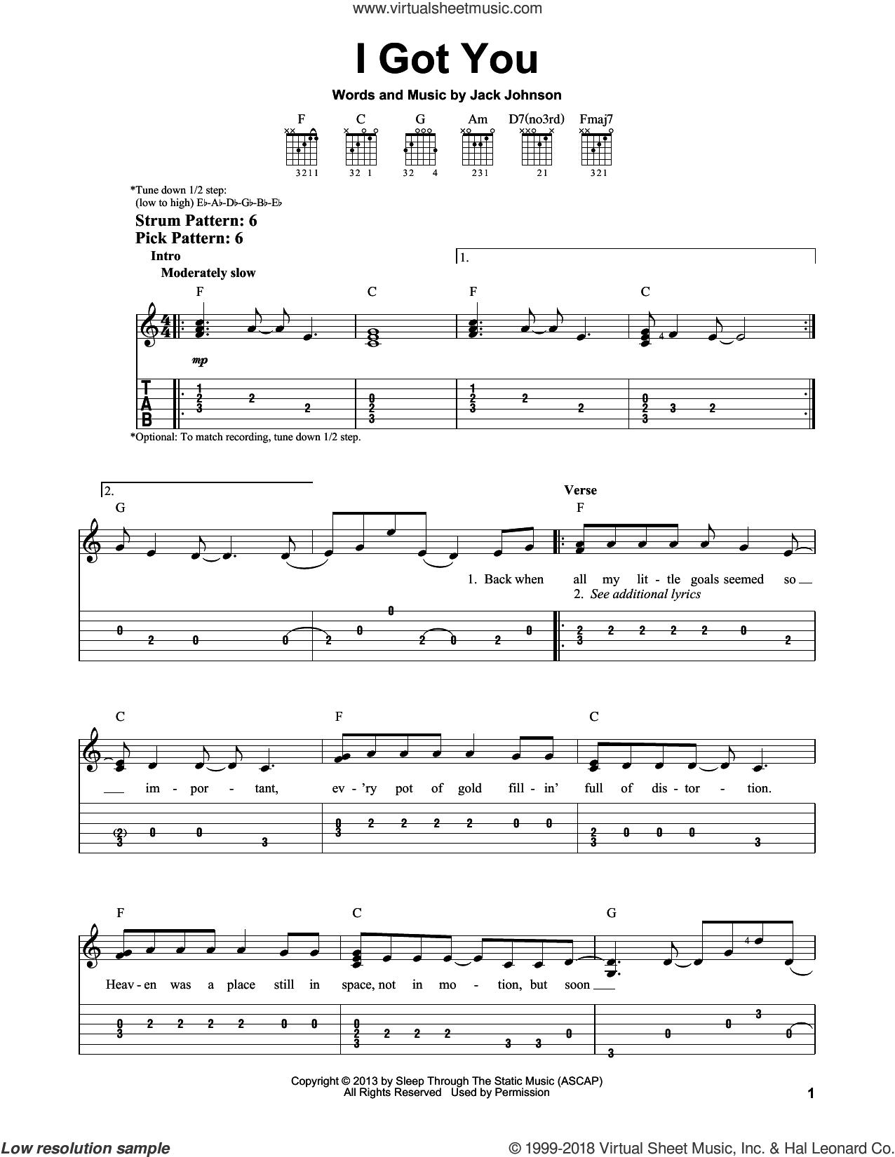 I Got You sheet music for guitar solo (easy tablature) by Jack Johnson, easy guitar (easy tablature). Score Image Preview.