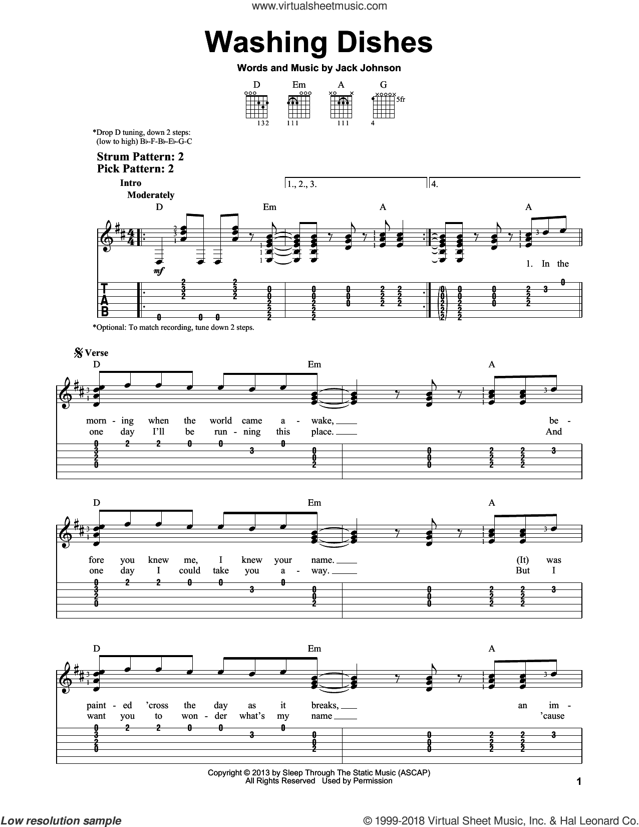 Washing Dishes sheet music for guitar solo (easy tablature) by Jack Johnson. Score Image Preview.