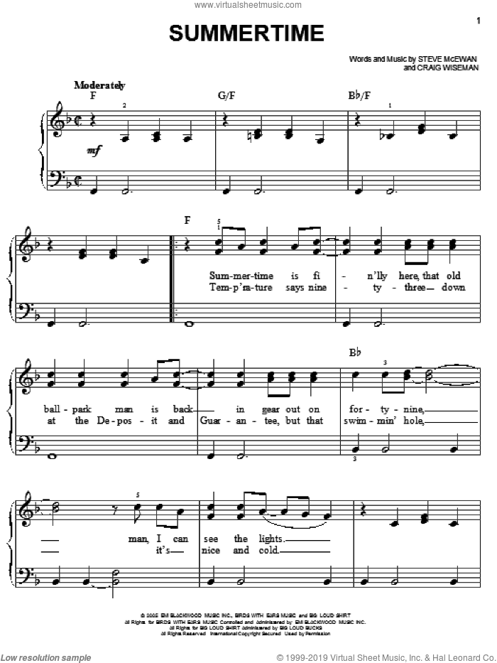 Summertime sheet music for piano solo by Kenny Chesney, Craig Wiseman and Steve McEwan, easy skill level