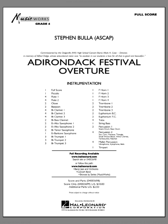 Adirondack Festival Overture (COMPLETE) sheet music for concert band by Stephen Bulla, intermediate skill level