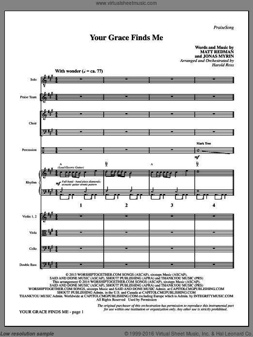 Your Grace Finds Me (COMPLETE) sheet music for orchestra by Jonas Myrin, Harold Ross and Matt Redman. Score Image Preview.