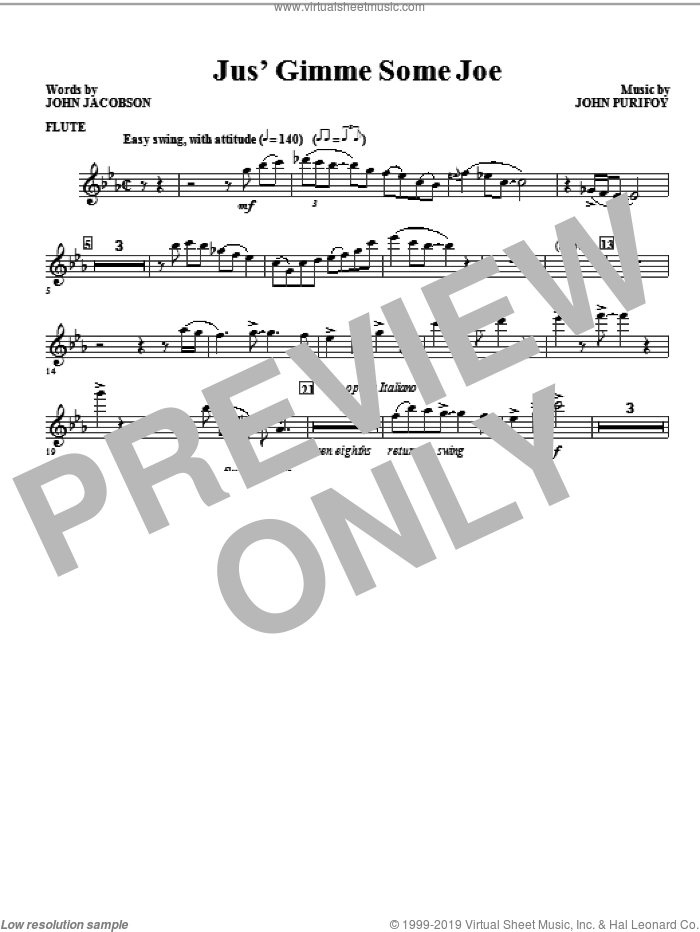 Jus' Gimme Some Joe! (complete set of parts) sheet music for orchestra/band (Rhythm) by John Purifoy and John Jacobson, intermediate skill level