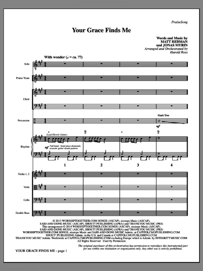 Your Grace Finds Me (COMPLETE) sheet music for orchestra/band by Matt Redman, Harold Ross and Jonas Myrin, intermediate. Score Image Preview.