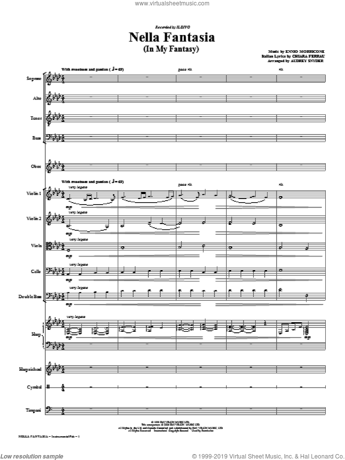 Nella Fantasia (In My Fantasy) (complete set of parts) sheet music for orchestra/band (chamber ensemble) by Ennio Morricone, Audrey Snyder and Il Divo, intermediate. Score Image Preview.