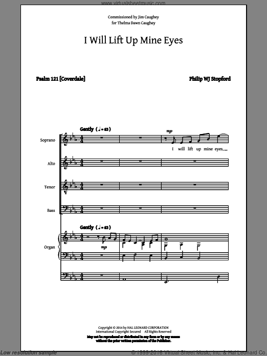 I Will Lift Up Mine Eyes sheet music for choir and piano (SATB) by Philip Stopford