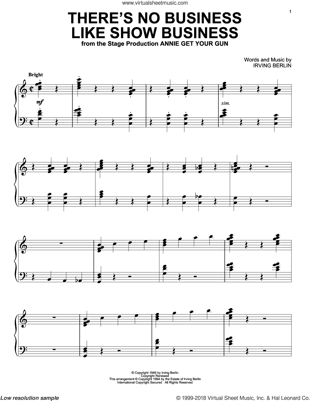 There's No Business Like Show Business sheet music for piano solo by Irving Berlin, intermediate skill level
