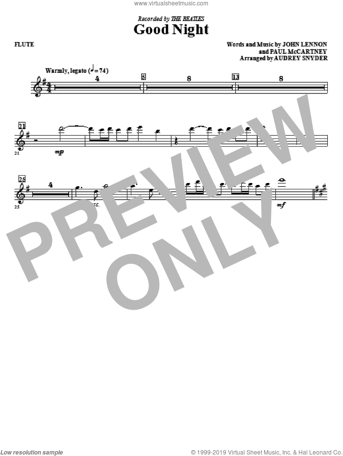 Good Night (complete set of parts) sheet music for orchestra/band (Special) by Paul McCartney, John Lennon, Audrey Snyder and The Beatles, intermediate skill level