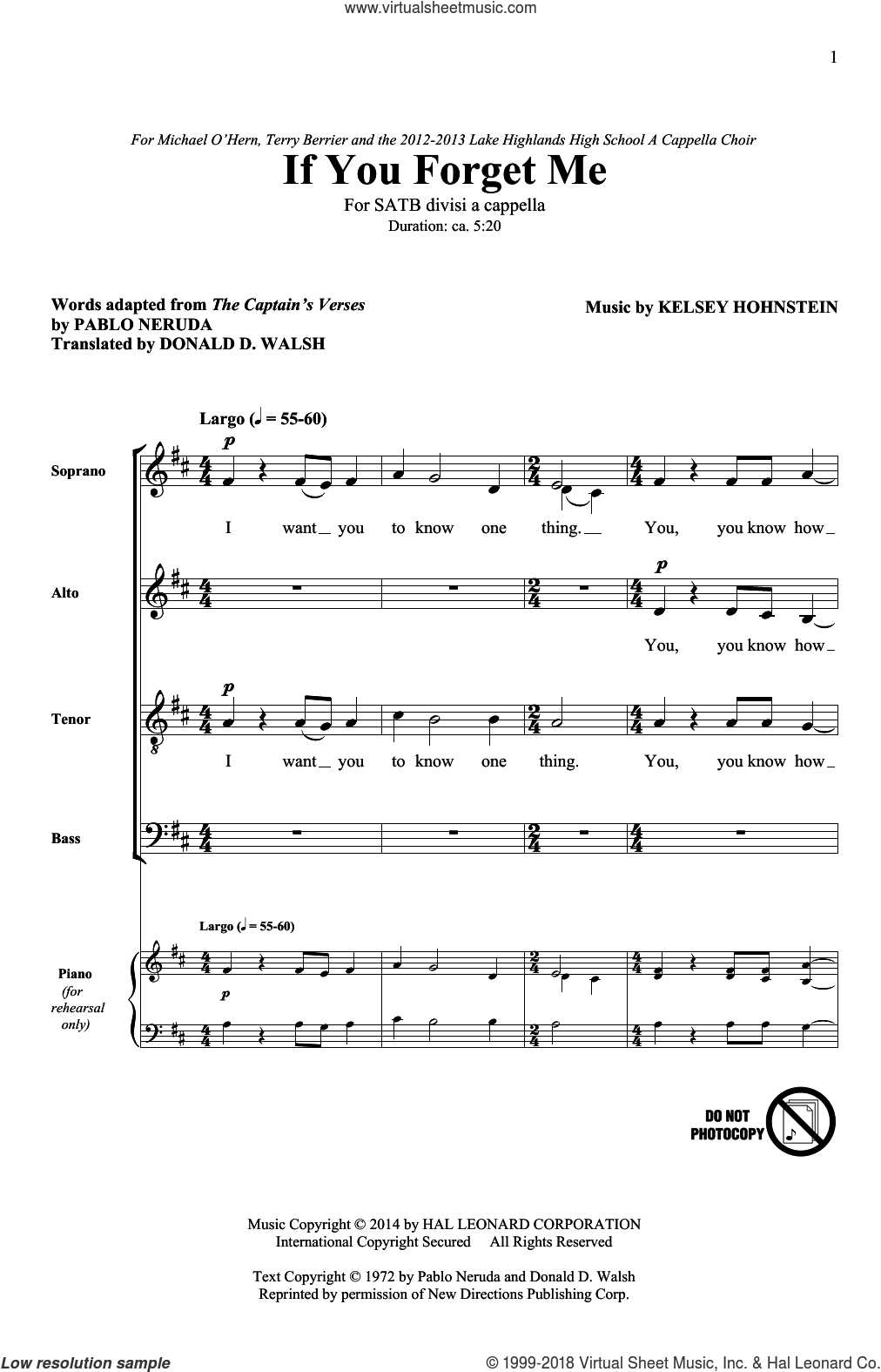 If You Forget Me sheet music for choir (SATB: soprano, alto, tenor, bass) by Kelsey Hohnstein, Donald D. Walsh and Pablo Neruda, intermediate skill level