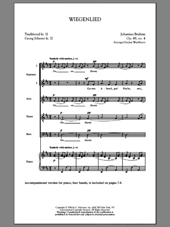 Wiegenlied sheet music for choir and piano by Johannes Brahms and Jon Washburn. Score Image Preview.