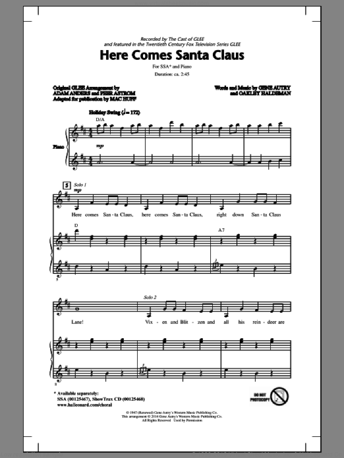 Here Comes Santa Claus (Right Down Santa Claus Lane) sheet music for choir (SSA: soprano, alto) by Mac Huff, Carpenters, Gene Autry, Glee Cast and Oakley Haldeman, intermediate