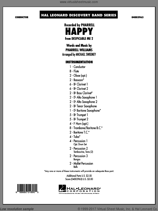 Happy (from Despicable Me 2) (COMPLETE) sheet music for concert band by Mike Sweeney