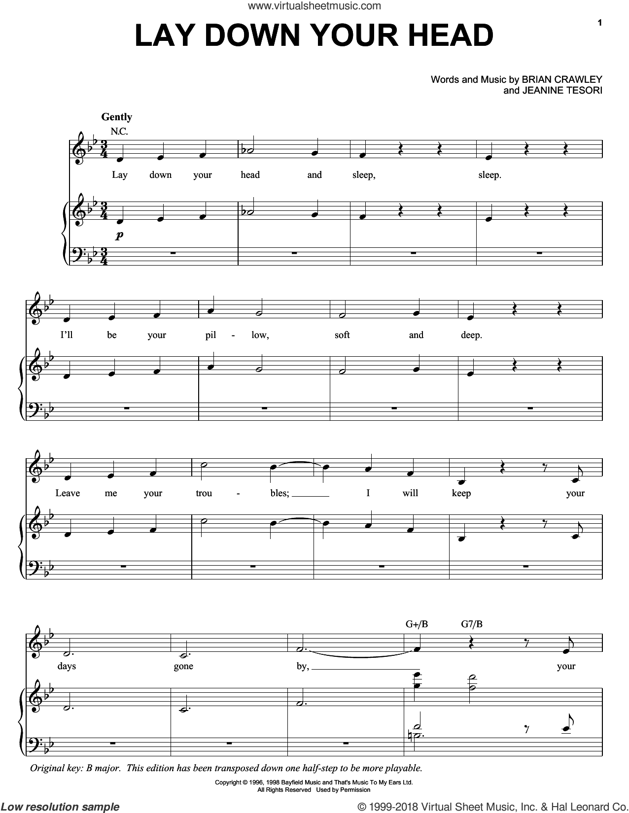 Lay Down Your Head sheet music for voice, piano or guitar by Audra McDonald, Brian Crawley and Jeanine Tesori, intermediate skill level