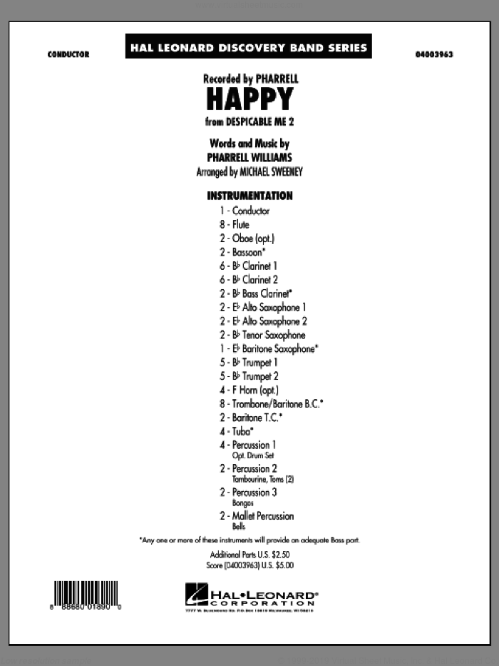 Happy (from Despicable Me 2) (COMPLETE) sheet music for concert band by Pharrell Williams, Mike Sweeney and Pharrell, intermediate