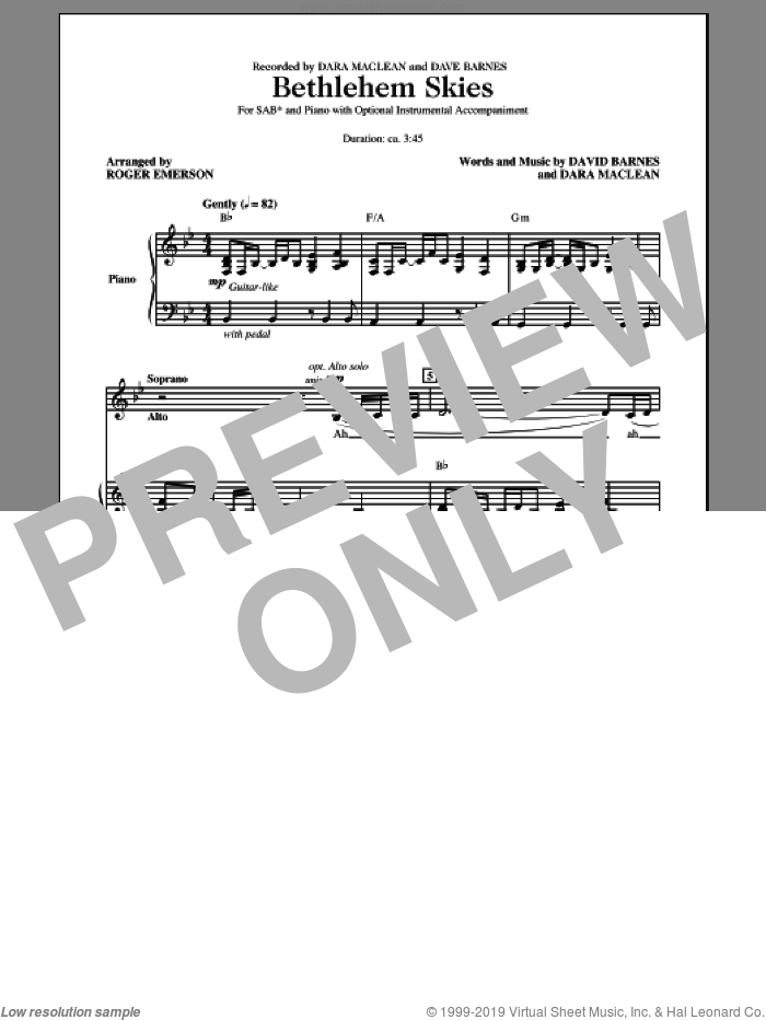 Bethlehem Skies sheet music for choir (SAB: soprano, alto, bass) by Roger Emerson, Dara MacLean and David Barnes, intermediate skill level