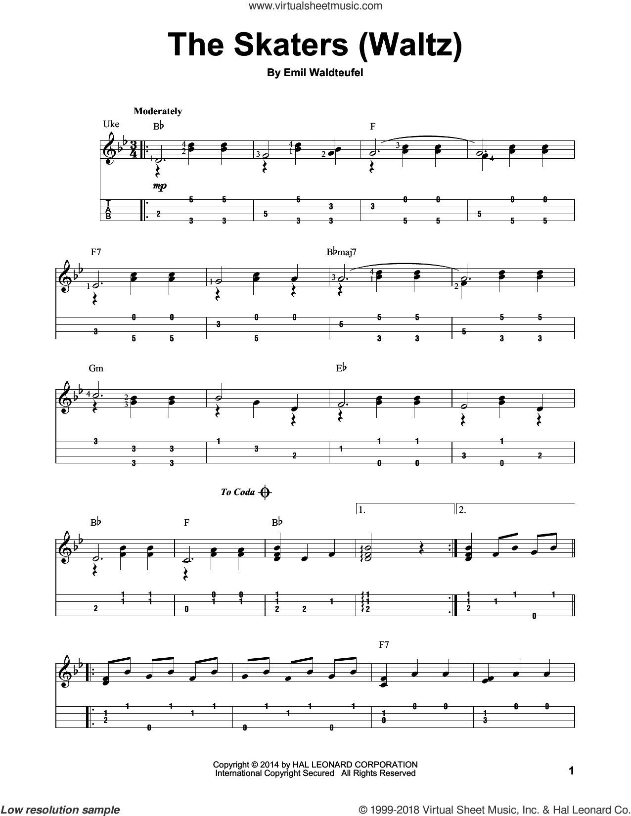 The Skaters (Waltz) sheet music for ukulele by Emile Waldteufel, classical score, intermediate skill level