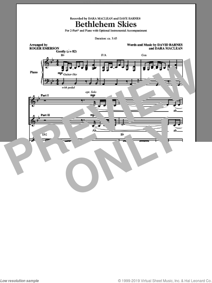 Bethlehem Skies sheet music for choir and piano (duets) by Dara MacLean and Roger Emerson. Score Image Preview.