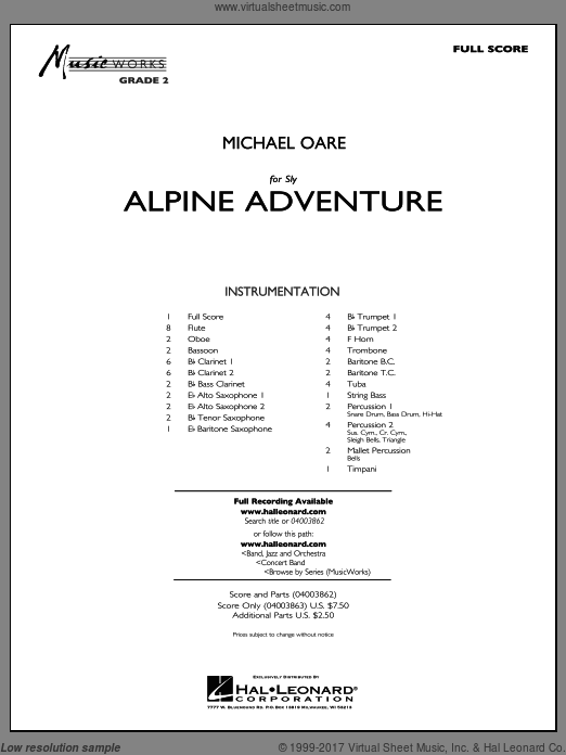 Alpine Adventure (COMPLETE) sheet music for concert band by Michael Oare