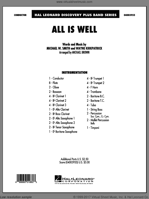 All Is Well (COMPLETE) sheet music for concert band by Wayne Kirkpatrick