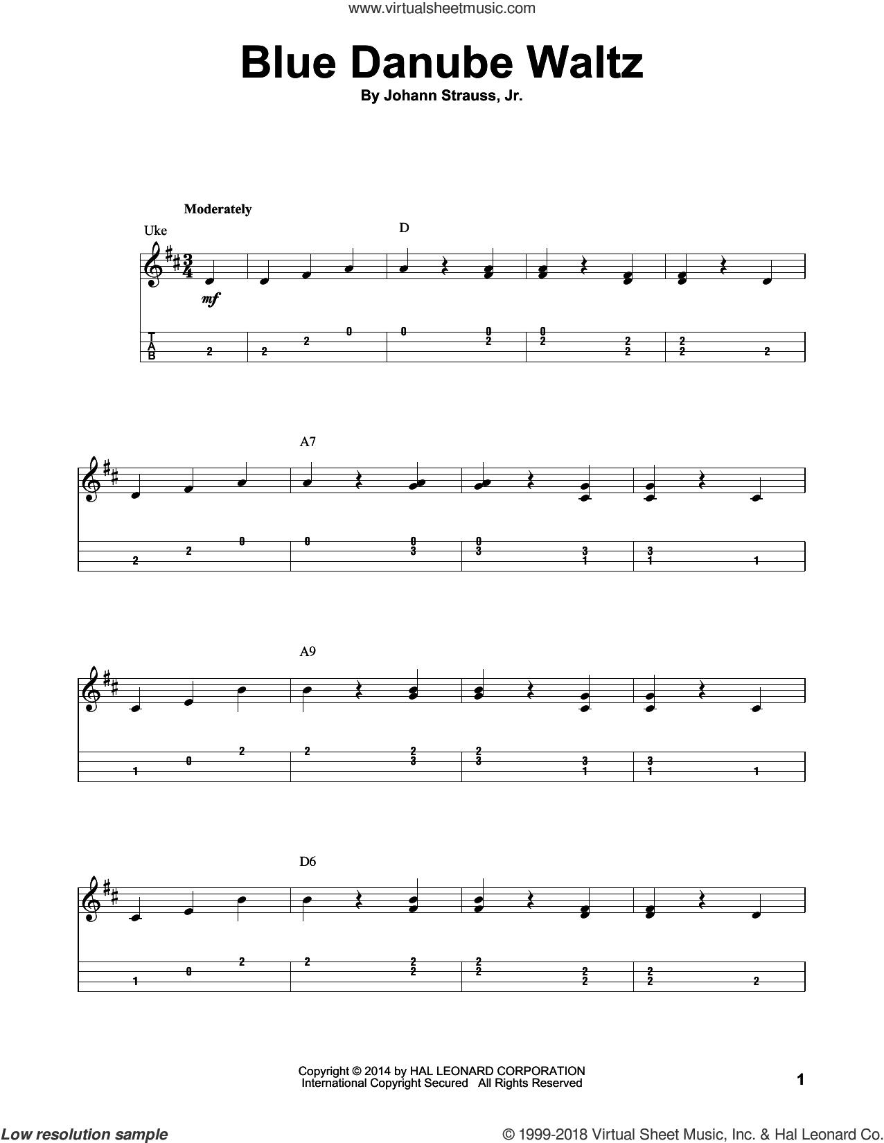 Blue Danube Waltz sheet music for ukulele by Johann Strauss, Jr., classical score, intermediate skill level