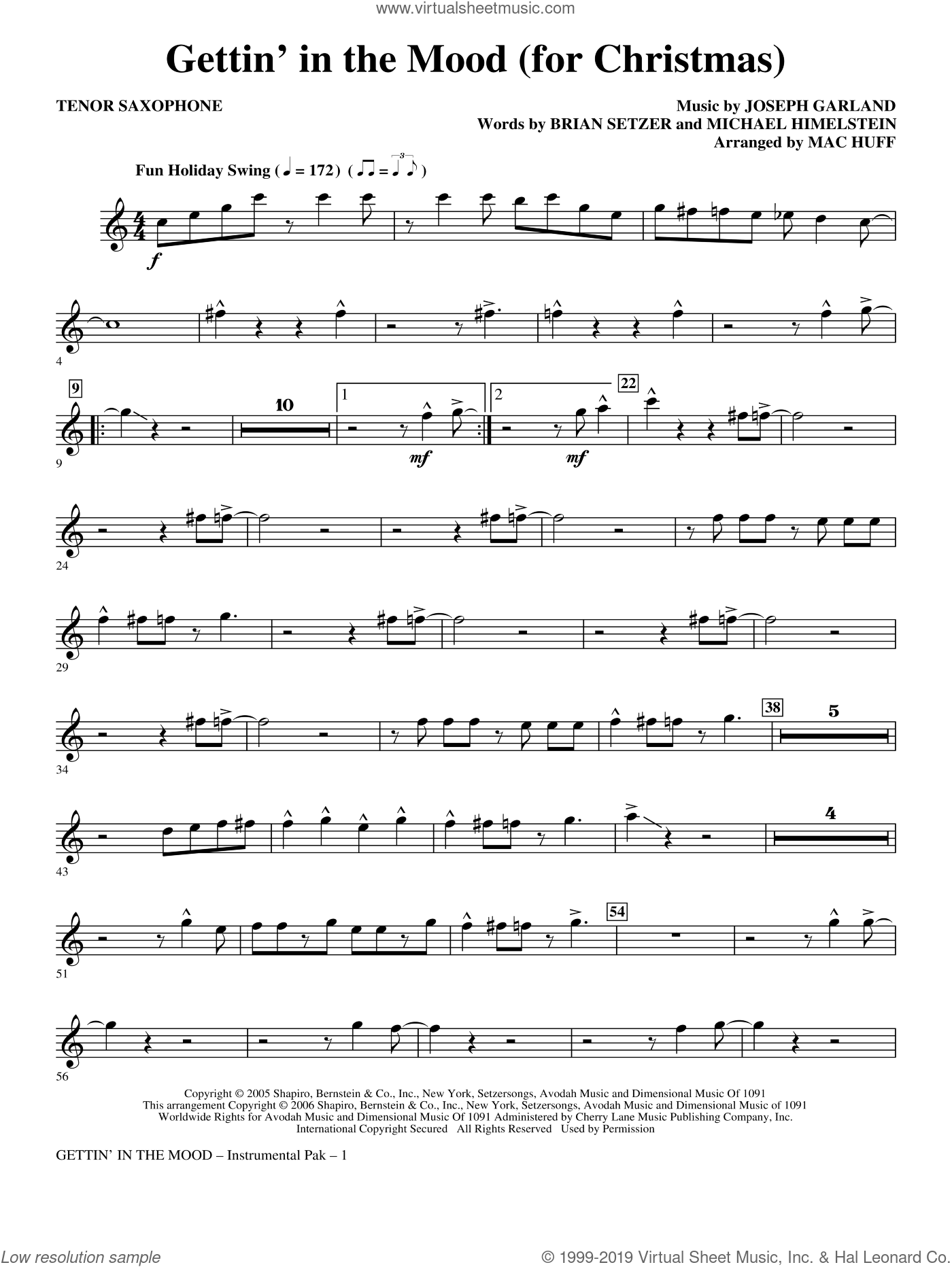 Gettin' In The Mood, for christmas sheet music for orchestra/band (tenor saxophone) by Joe Garland