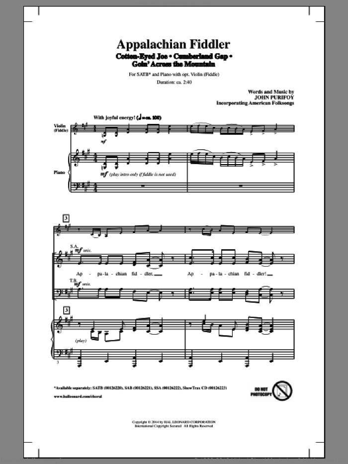 Cumberland Gap sheet music for choir (SATB) by John Purifoy. Score Image Preview.