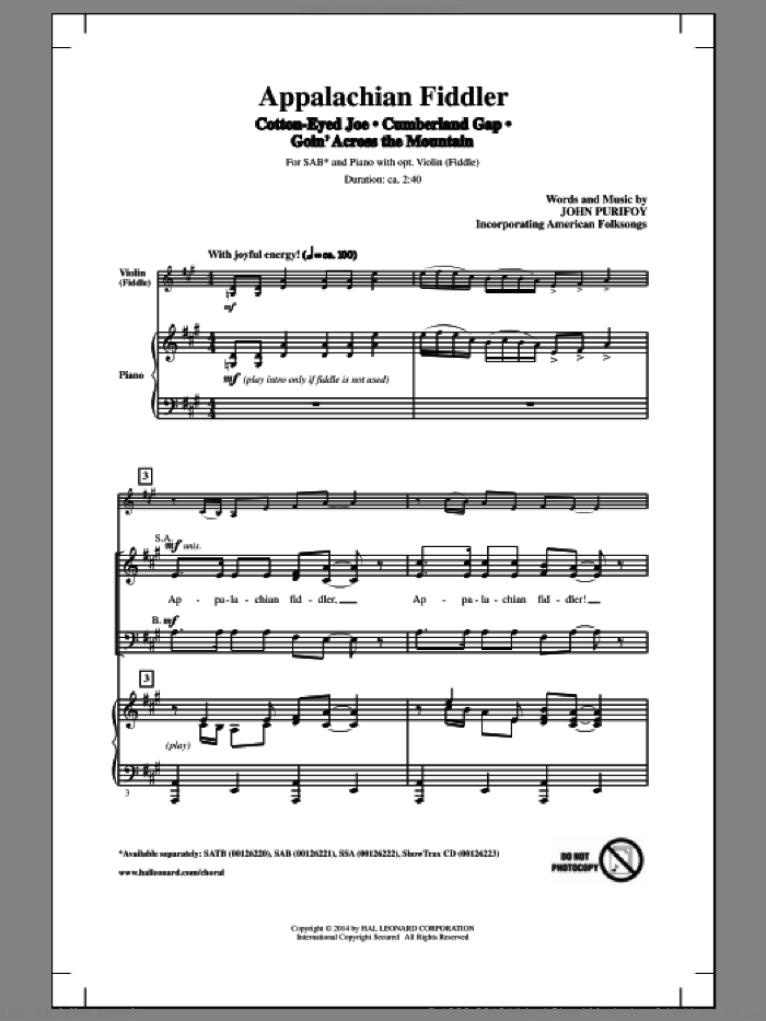 Cumberland Gap sheet music for choir and piano (SAB) by John Purifoy