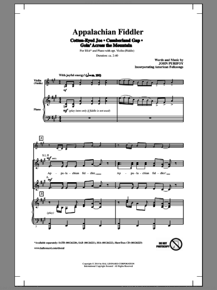 Cumberland Gap sheet music for choir and piano (SSA) by John Purifoy
