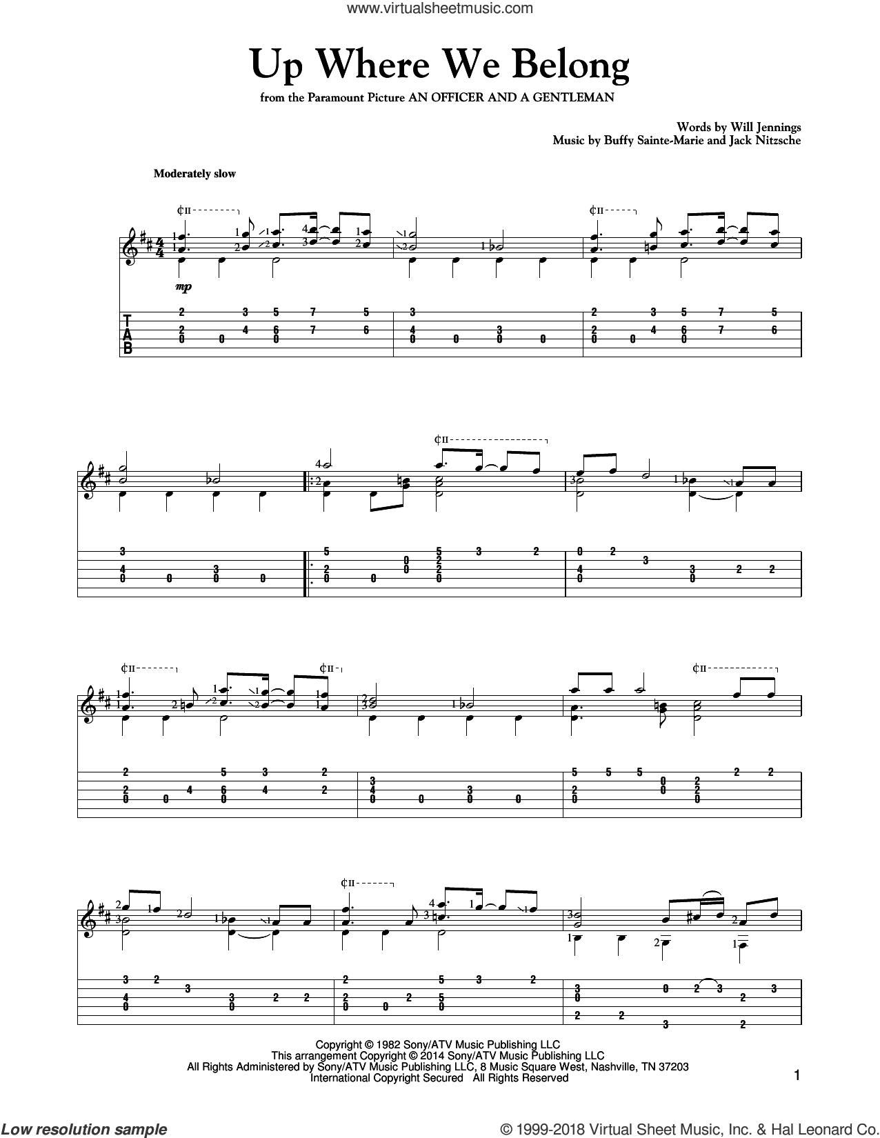 Up Where We Belong sheet music for guitar solo by Will Jennings, Mark Phillips, BeBe and CeCe Winans, Joe Cocker & Jennifer Warnes and Buffy Sainte-Marie. Score Image Preview.