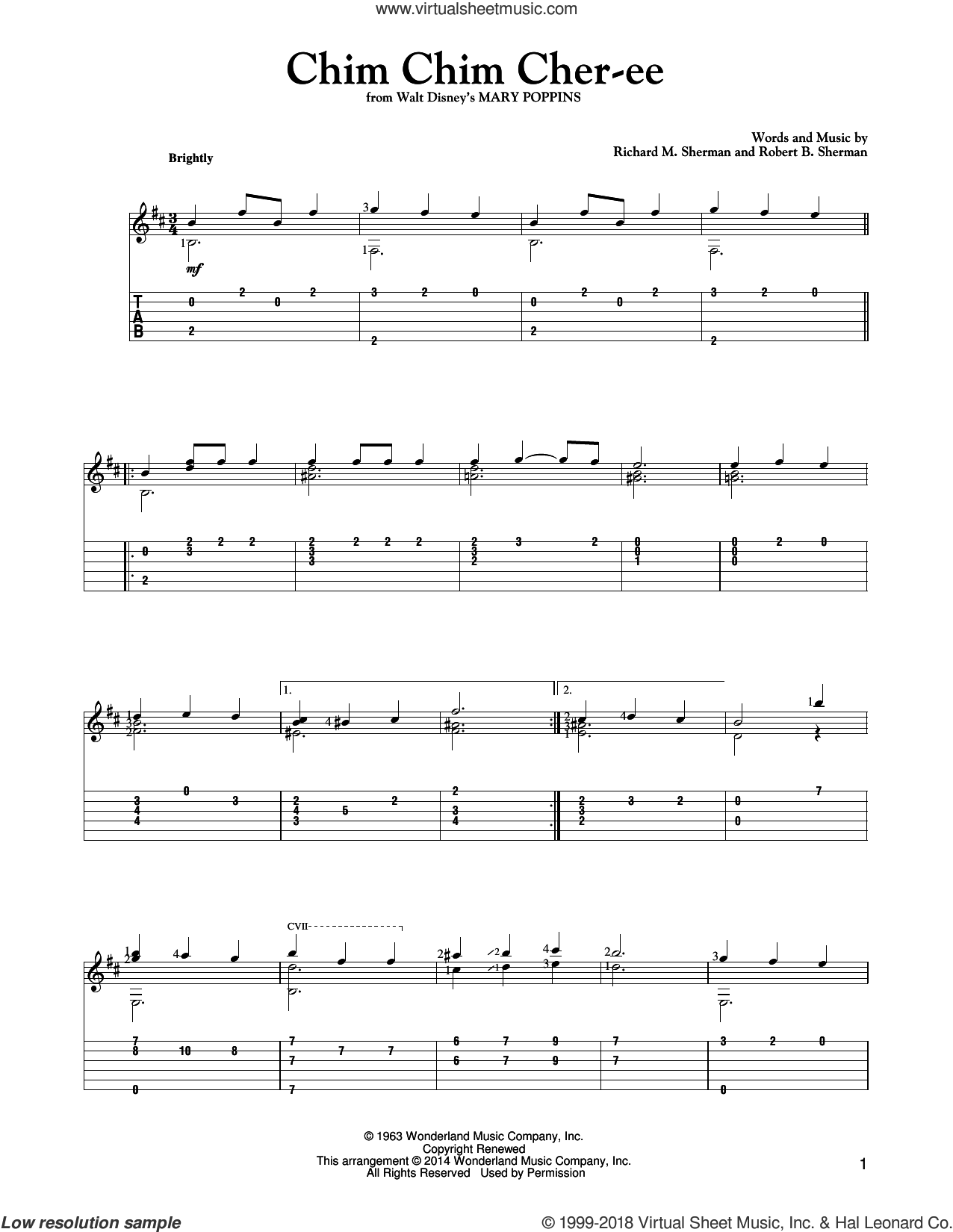 Chim Chim Cher-ee sheet music for guitar solo by Richard M. Sherman, Mark Phillips, New Christy Minstrels and Robert B. Sherman, intermediate. Score Image Preview.