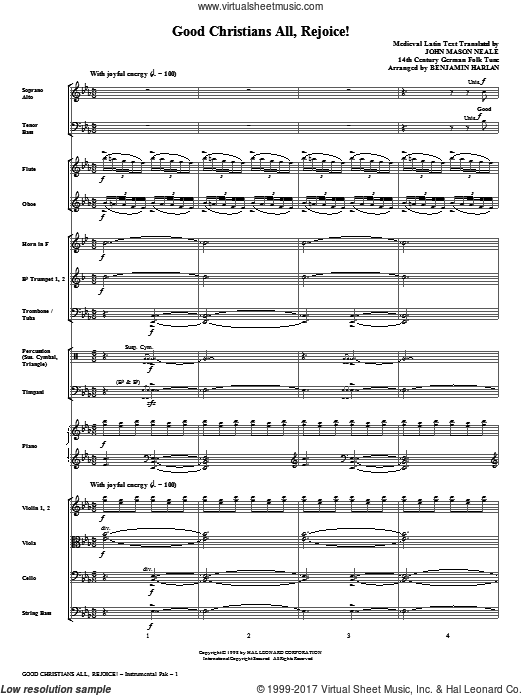 Good Christians All, Rejoice! (COMPLETE) sheet music for orchestra by Medieval Latin