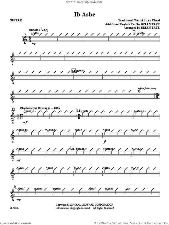Ib Ashe (complete set of parts) sheet music for orchestra/band by Brian Tate and Traditional West African Chant, intermediate skill level