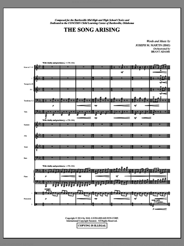 The Song Arising (COMPLETE) sheet music for orchestra/band by Joseph M. Martin, intermediate. Score Image Preview.