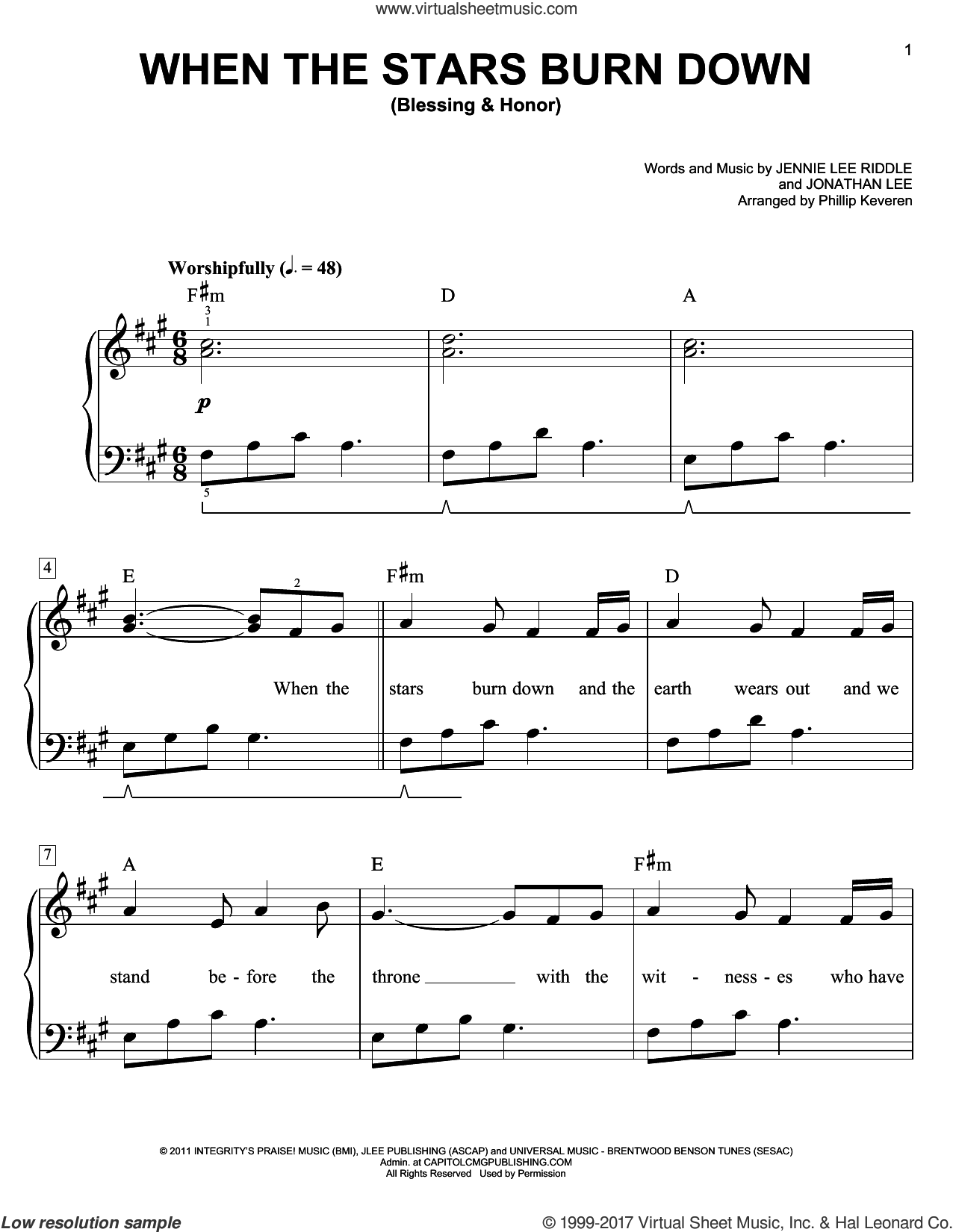 When The Stars Burn Down (Blessing and Honor) sheet music for piano solo by Jennie Lee Riddle, Phillip Keveren and Jonathan Lee, easy skill level