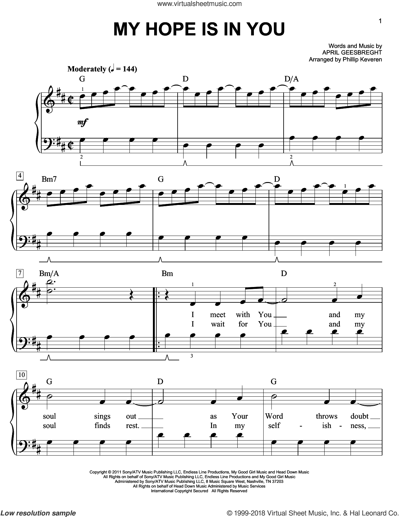 My Hope Is In You sheet music for piano solo by April Geesbreght and Phillip Keveren, easy skill level