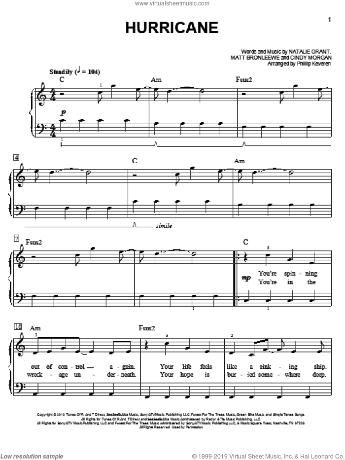 Hurricane sheet music for piano solo by Natalie Grant, Phillip Keveren, Cindy Morgan and Matt Bronleewe, easy