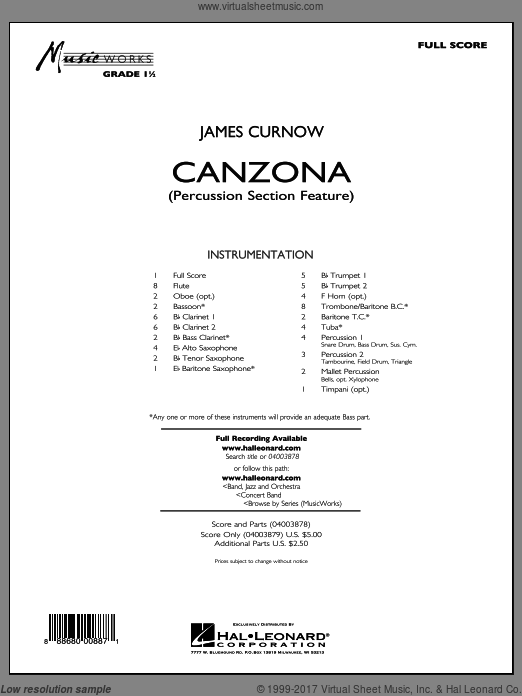 Canzona (COMPLETE) sheet music for concert band by James Curnow