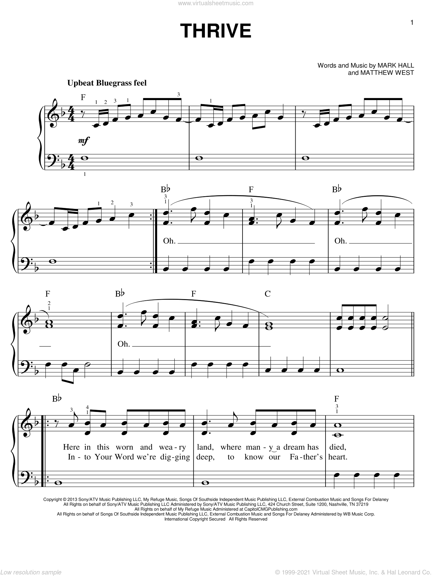 Thrive sheet music for piano solo by Matthew West, Casting Crowns and Mark Hall. Score Image Preview.