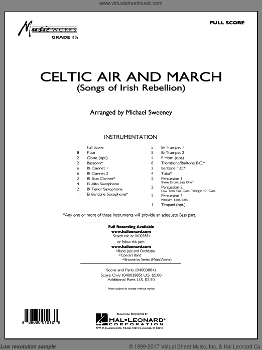 Celtic Air and March (Songs of Irish Rebellion) (COMPLETE) sheet music for concert band by Michael Sweeney