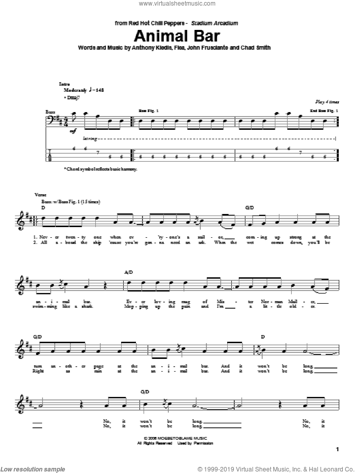Animal Bar sheet music for bass (tablature) (bass guitar) by Red Hot Chili Peppers, Anthony Kiedis, Chad Smith, Flea and John Frusciante, intermediate skill level
