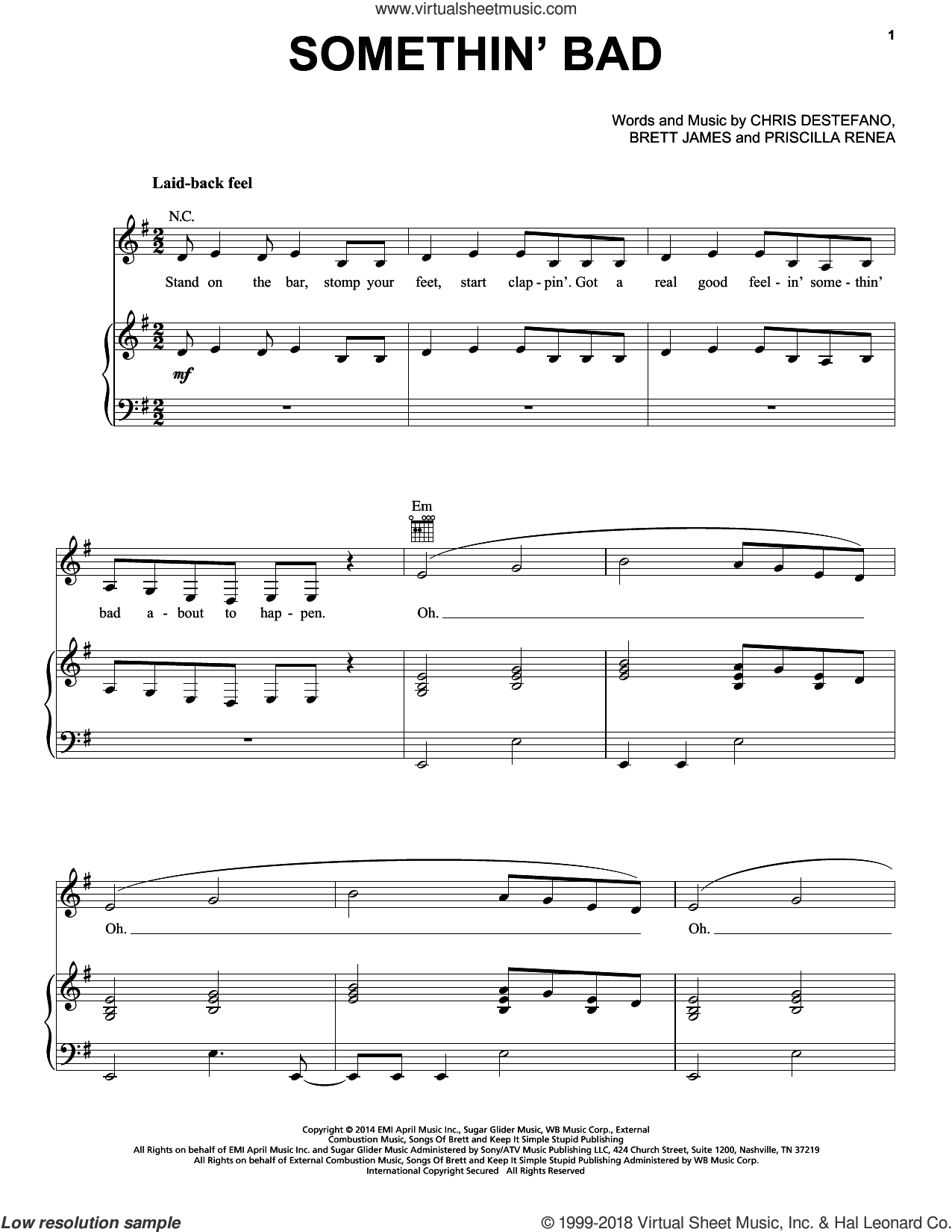 Somethin' Bad sheet music for voice, piano or guitar by Priscilla Renea