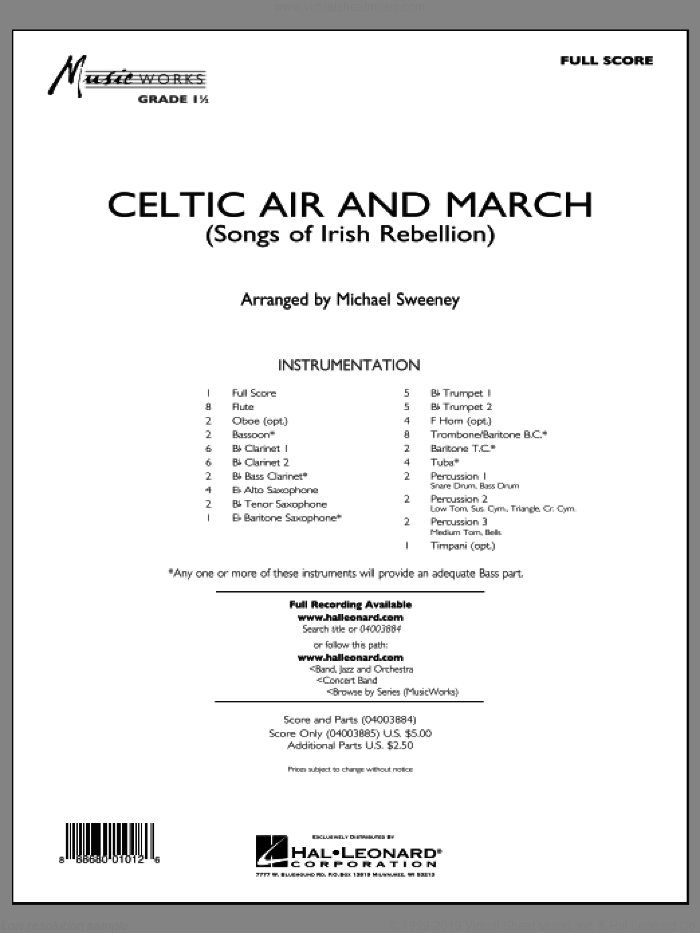 Celtic Air and March (Songs of Irish Rebellion) (COMPLETE) sheet music for concert band by Michael Sweeney, intermediate