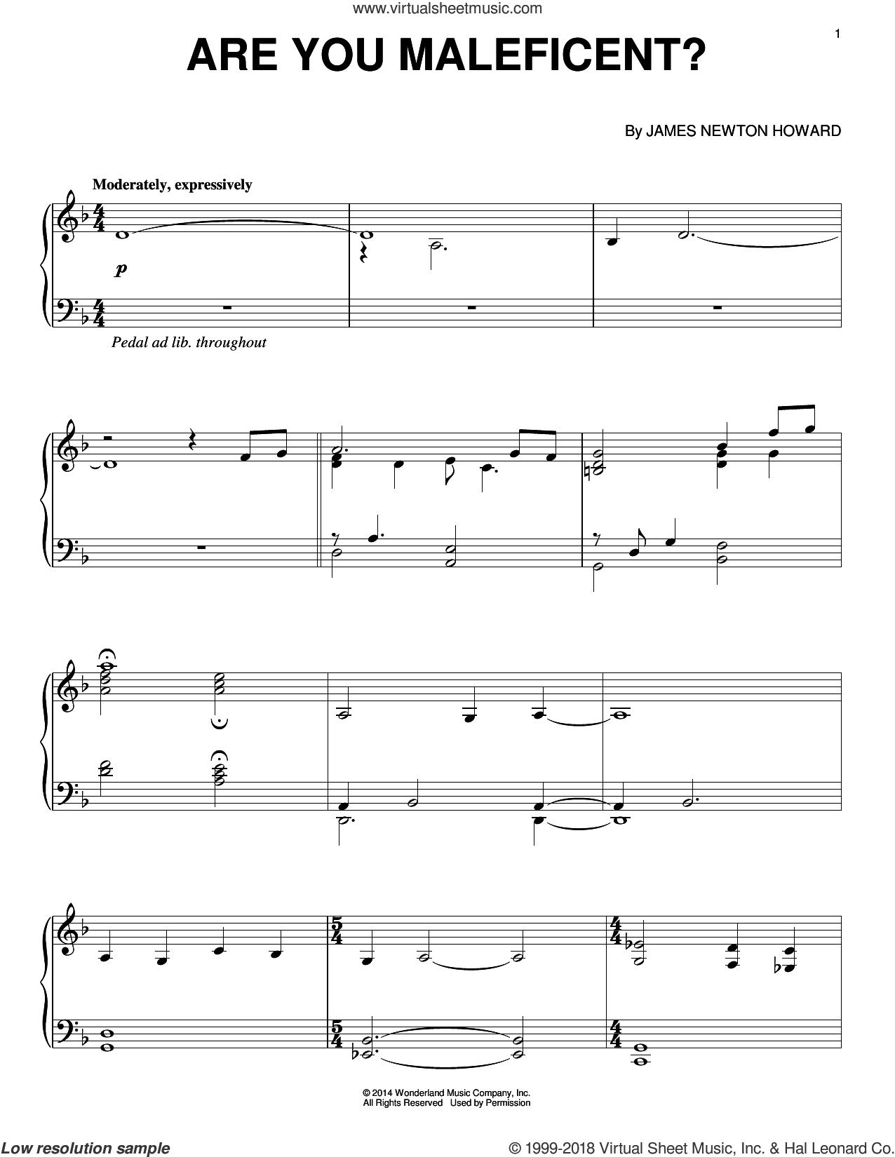 Are You Maleficent? sheet music for piano solo by James Newton Howard, intermediate