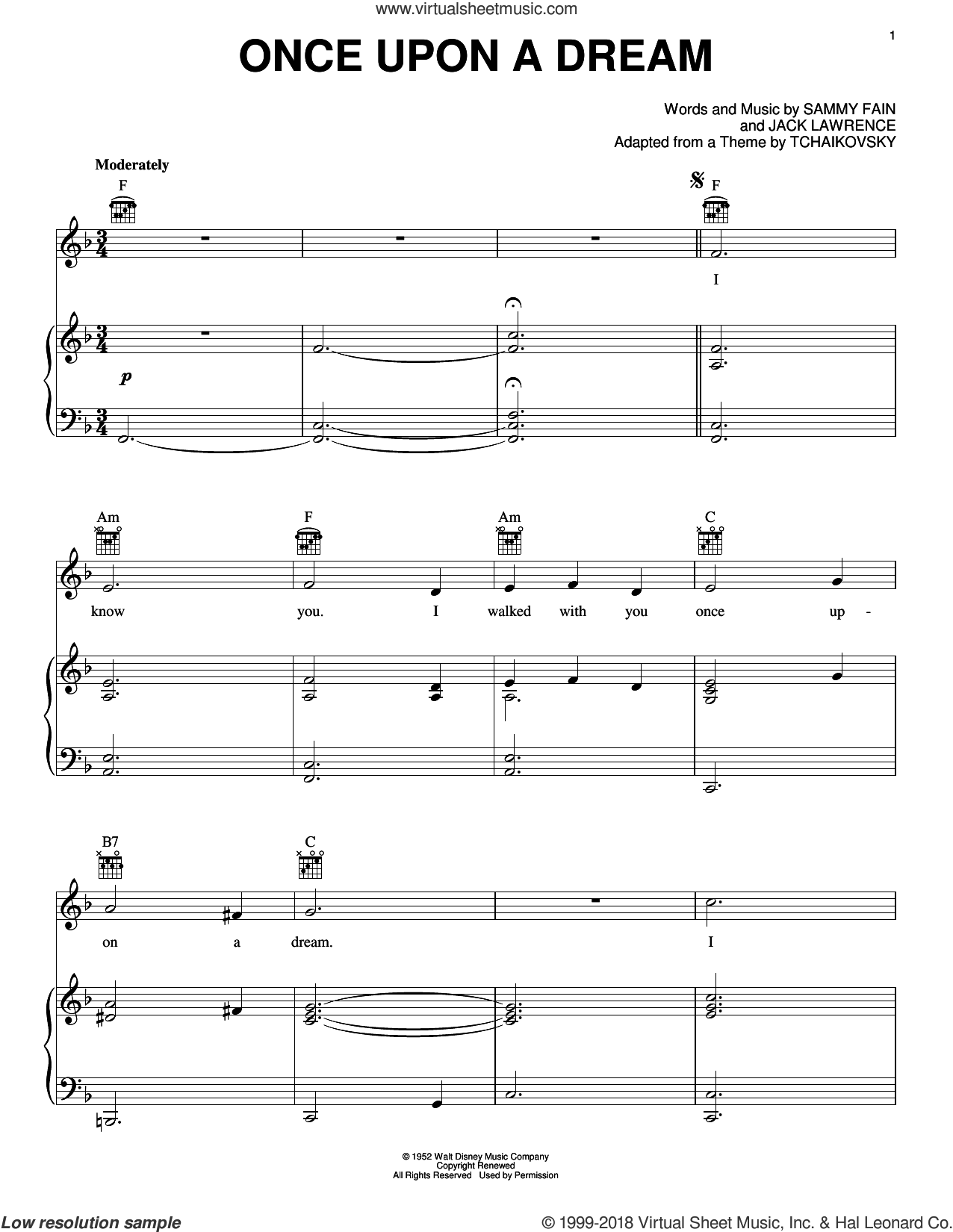 Once Upon A Dream sheet music for piano solo by James Newton Howard, Jack Lawrence and Sammy Fain, intermediate