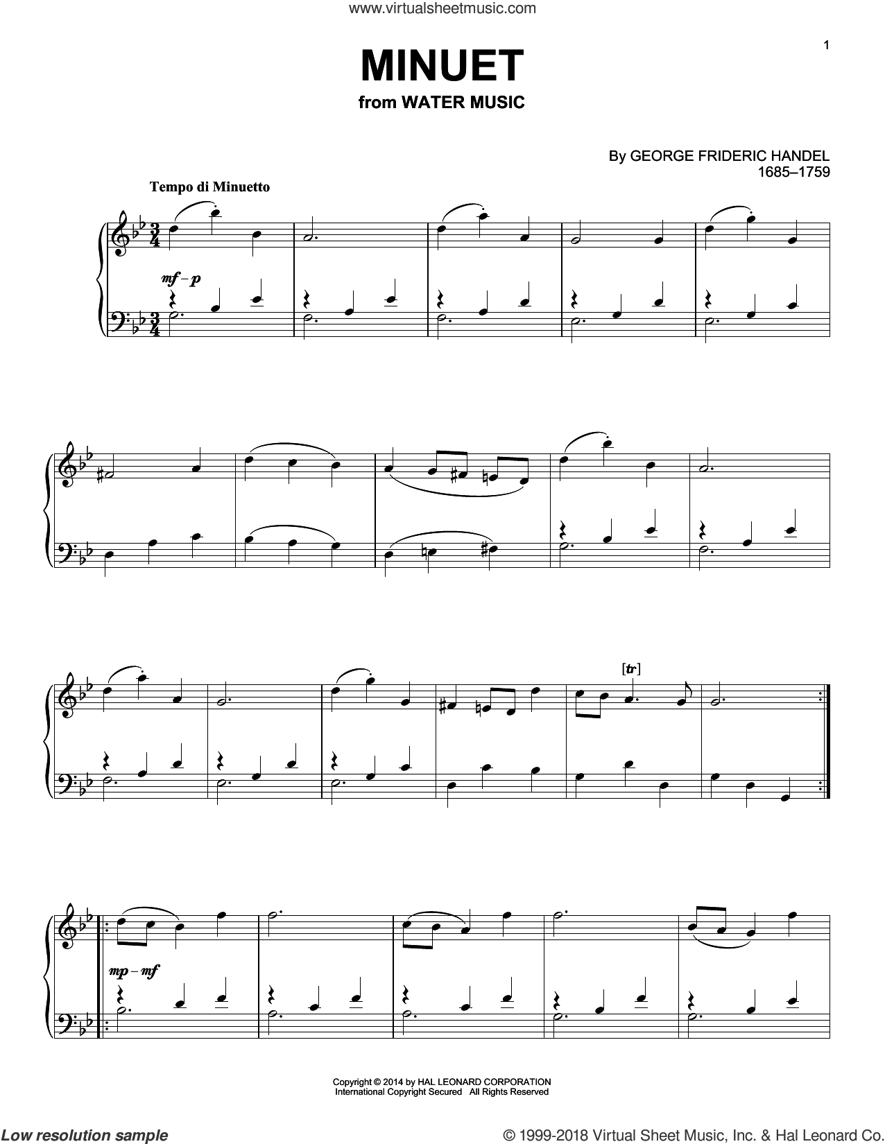 Minuet sheet music for piano solo by George Frideric Handel. Score Image Preview.