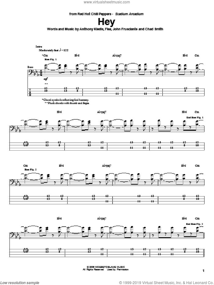Hey sheet music for bass (tablature) (bass guitar) by Red Hot Chili Peppers. Score Image Preview.